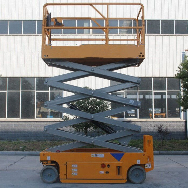 Portable Hydraulic Scissor Lift Aerial Lift Platform With Solid Non - Marking Tire